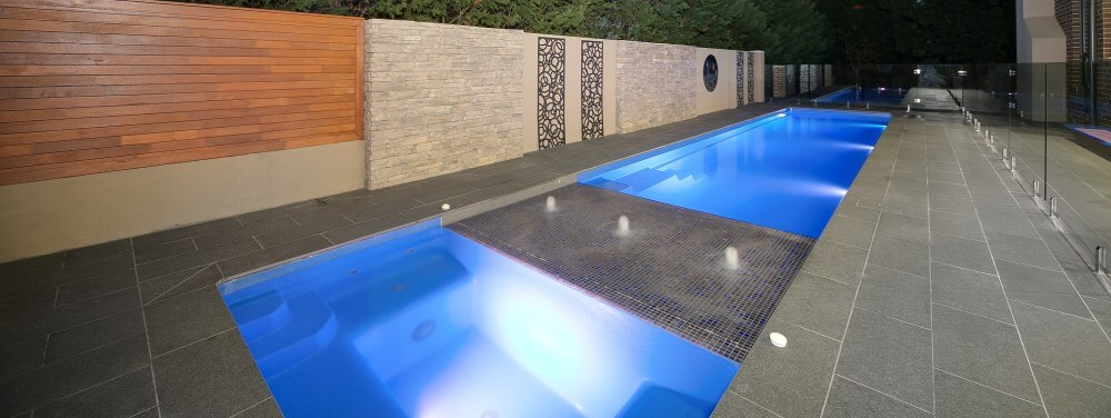 Compass Pools Melbourne Fastlane lap pool with a sunpod and spa